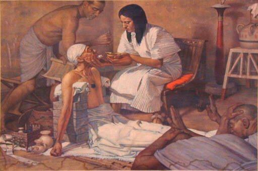 Dibujo de un hombre atendiendo a un enfermo