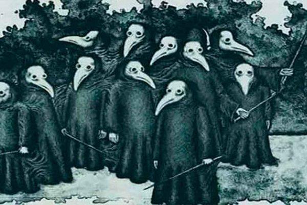 Imagen de personas usando caretas durante la Peste negra